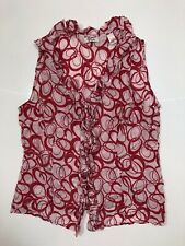Penguin Ladies Red/pink Swirl Sleeveless Frill Top Sz L
