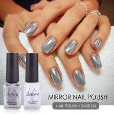2Pcs Nail Gel Polish Silver Color Mirror Effect Metallic Varnish Base Coat-