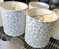 Ballard Designs Set 2 Riverbed Drum Lampshade Leopard Print Blue Gray 10H Buffet