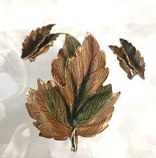 Maple Leaves Brooch Earrings Set Rare Vtg Estate Weiss Gold Green Brown Enamel