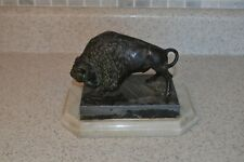 Vintage Cast Buffalo Sculpture on Marble Base