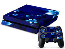 Sony PS4 Playstation 4 Skin Design Aufkleber Schutzfolie Set - Blue Flower Motiv
