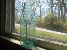 IRON PONTIL ORNATE WILLINGTON CATHEDRAL PICKLE BOTTLE 1850s CRUDE WHITTLED GLASS