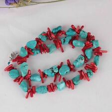 Red coral branch Turquoise Gemstone DIY handmade chain 15inches Wedding Flawless