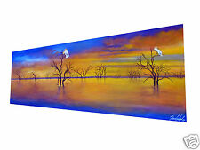 cockatoo birds Sunset art painting canvas  landscape Australia By Jane COA