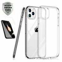 Case + Screen Protector iPhone 11 Pro Max XR Case 6 7 8 Plus XS X SE Cover Clear