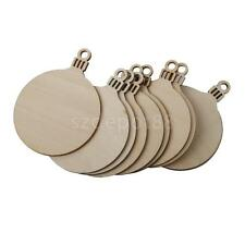 10x Wooden Round Wood Craft Embelishments Christmas Decor DIY Blank Plaques