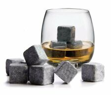 9x Ice Cold Milled Soapstone Scotch Whiskey Whisky Stone Cubes Carrying Pouch