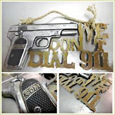 """"""" We Don't Dial 911 """" Warning Colt Pistol Rustic Sign Plaque Door Wall Figurine"""