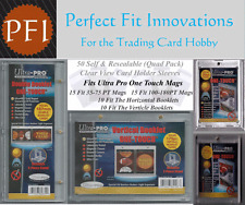 50 Perfect Fit Card Holder Sleeves for UP 35-180PT V & H Booklets Quad COMBO