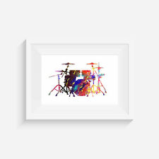 Drum set, inspired print, poster, wall art, gift, party, musical instrument