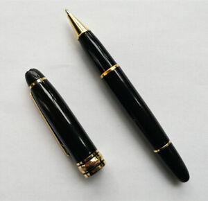 Luxury MB Meisterstuck Series Black+Gold Clip Rollerball Pen NO BOX