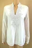 POLO JEANS CO. White Top Long Sleeved Embellished Embroidered Cotton-Rayon Small