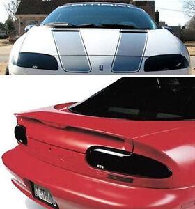 Fits 93-97 Chevrolet Camaro GTS Smoke Acrylic Headlight Taillight Covers 4pc NEW