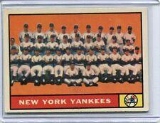 1961 Topps Baseball Card New York Yankees Team Card Ex Mint # 228