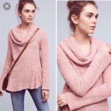 Anthropologie Postmark Maurisa Pink Thermal Waffle Cowl Sweater Size Medium M