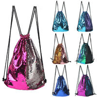 String Drawstring Bags Sequin Sports Gym PE Dance School Backpack Swim Shoulde