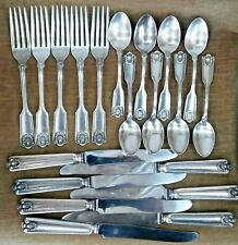 20 pcs. Sheffield Thomas Smith FIDDLE & SHELL Sterling Silver Flatware 26+ oz.
