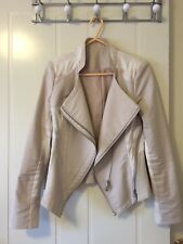Women's Fashion Suede Cream Fitted moto Jacket Size 6-8