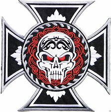 Maltese Vampire Skull Iron Cross Rider Biker  Big XL Embroidered Back Patch 9.8""