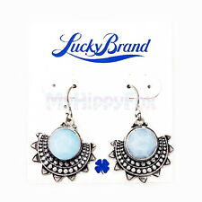 NWT Lucky Brand Antiqued Silver Tone Blue Stone Tribal Style Lotus Drop Earrings