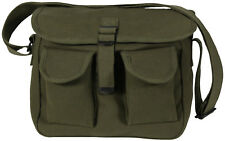 Olive Drab 2 Pocket Canvas Military Ammo Carry Shoulder Bag