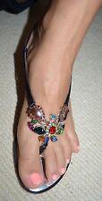 Giuseppe Zanotti Black Patent Leather Jewel Embellished Sandals Shoes Heels 41