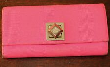 $249 KATE SPADE Turnlock CYNDY MARBLE HILL HOT PINK Leather Wallet Clutch LIZARD