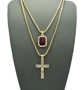Hip Hop Micro Red,Blue,Black,Stone Cross Pendant Box Chain 2 Necklace Set RC1374