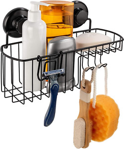 HASKO accessories Shower Caddy Suction Cup - Wall Mounted Bathroom Shelf with -