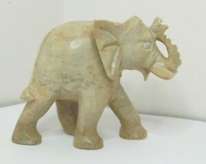 OLD ASIAN CARVED STONE ELEPHANT SCULPTURE