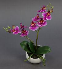 Orchidee Real Touch 28cm rosa-pink in weißer Keramikvase DP Kunstblumen
