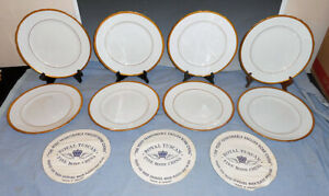 "Set of 8 Royal Tuscan 10 1/2"" Bone China Dinner Plates Gold Band"