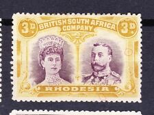 Rhodesia 1910-14 3d SG135 VARIETIES AS HIGHLIGHTED -DOTS EAST OF KING+FRAME MH