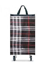Black Tartan Shopping Trolley Luggage Bag On Wheels Foldable Grocery Bag  New