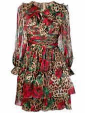 DOLCE & GABBANA Organza Multi-print Ruffled Dress Size 36***, Retail $3,645