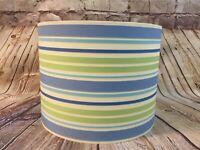 Drum Lampshade Blue Green Ribbon Stripe Nautical or Baby Boy Nursery Decor