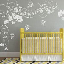 Flowers Butterflies Wall Decal Motivation Vinyl Child Girl Room Mural Art Decor