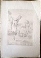 Lithographie de Serret, Enfants et jeu de marelle