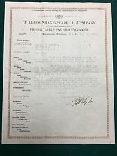 ANTIQUE 1915 SHAKESPEARE FISHING PAPERWORK  VINTAGE TACKLE COMPANY ADV