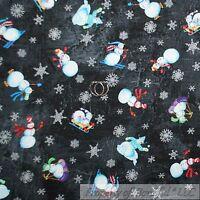 BonEful FABRIC FQ Cotton Quilt Black White B&W Snowflake Snowman Sport Ski Xmas