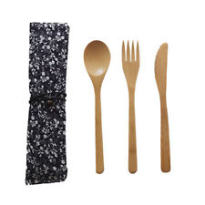 Bamboo Wooden Cutlery Set Spoon Fork Cutter Cutting Reusable Kitchen Tool W/ Bag