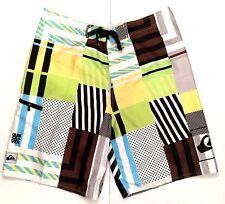 Quiksilver Men Board Short 40 Yellow Multi Swim Trunks Side Zip Pocket Surf Tool