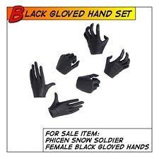 Phicen Snow Soldier Hot Black Gloved Hand Set for 1/6 12in scale Female Toys