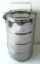 4 TIER Stainless Steel FOOD CARRIER TIFFIN ~ 4 Container LUNCH / BENTO BOX 16 cm