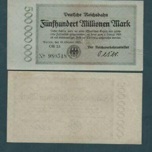 GERMANY  -1923  500  MILLION  MARKS   -BERLIN TRAIN - SCARCE  NICE  NOTE