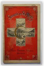 Reiseprospekt Souvenir de St. Moritz um 1930 Schweiz Ortskunde Geographie xy
