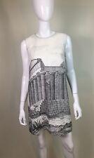Dolce & Gabbana Women's White Gray Ancient Ruin Print Linen Shift Dress SZ 46/10