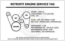 1999 LS1 5.7L Trans Am Retrofit Engine Service Tag Belt Routing Diagram Decal
