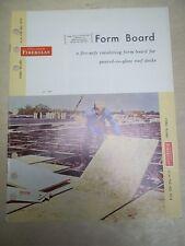 Vtg Owens-Corning Fiberglas Corp Catalog~Insulating Form Board